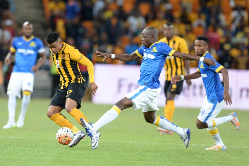 George Lebese of Chiefs and Hlompho Kekana of Sundowns during the Absa Premiership match between Kaizer Chiefs and Mamelodi Sundowns at FNB Stadium on January 09, 2016 in Johannesburg, South Africa. (Photo by Lefty Shivambu/Gallo Images)