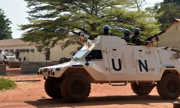 AFP/File / Issouf Sanogo<br />United Nations peacekeepers patrol on January 2, 2016 in Bangui