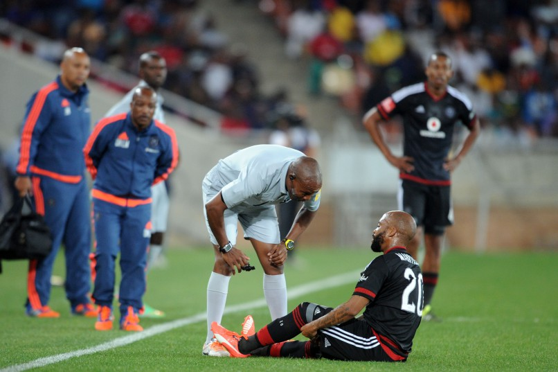 Oupa Manyisa  of Orlando Pirates injured during the Absa Premiership match between Polokwane City and Orlando Pirates at Peter Mokaba Stadium. (Pic Sydney Mahlangu/ BackpagePix)