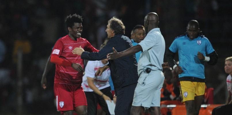 Ayanda Nkosi  of Free State Stars celebrates a goal at Goble Park Stadium Pic Sydney Mahlangu/ BackpagePix