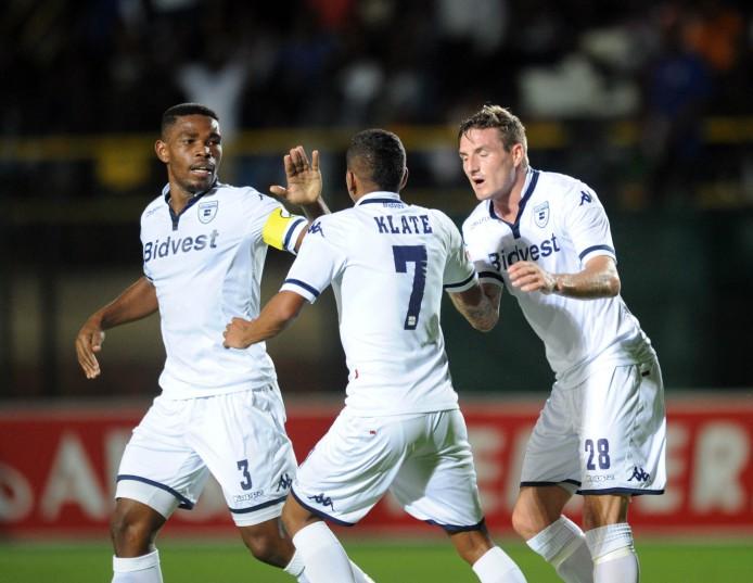 Thulani Hlatshwayo  of Bidvest Wits (3) celebrates a goal with teammates at Bidvest Stadium Pic Sydney Mahlangu/ BackpagePix