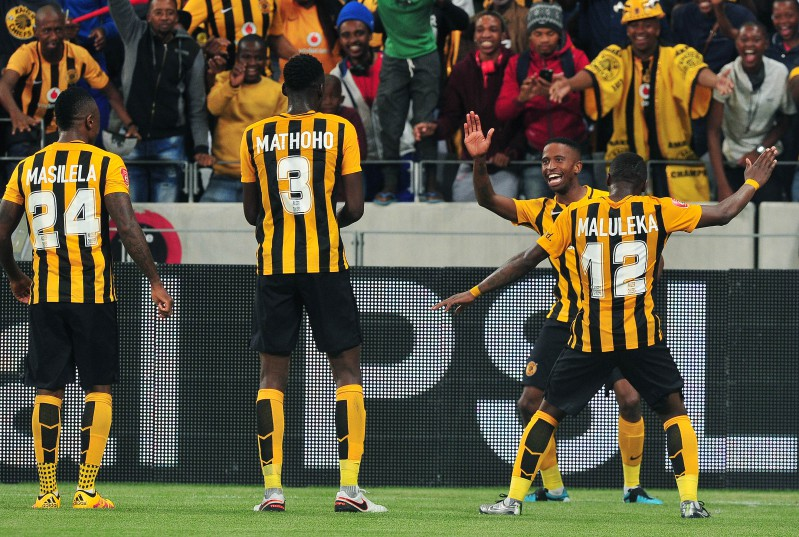 William Twala of Kaizer Chiefs celebrates goal with teammate George Maluleka of Kaizer Chiefs during the Absa Premiership 2015/16 football match between Kaizer Chiefs and Supersport United at Cape Town Stadium, Cape Town on 20 February 2016 ©Chris Ricco/BackpagePix