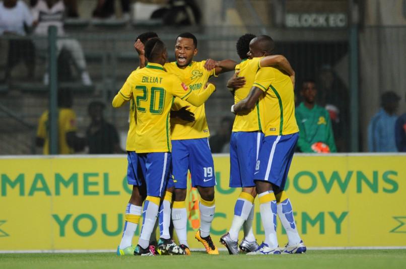 Mamelodi Sundowns players celebrate. Photo: Sydney Mahlangu/ BackpagePix