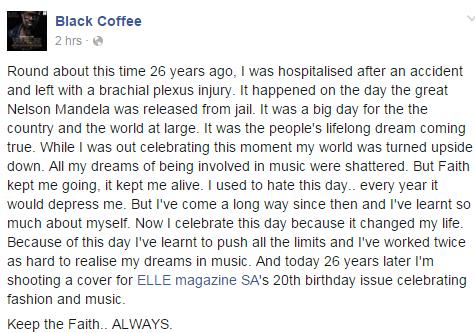 Black Coffee's Facebook post