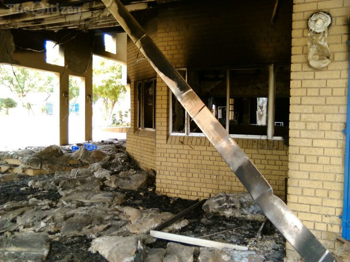 Parts of torched building at the North West University (NWU) Mafikeng campus. Picture: Steven Tau