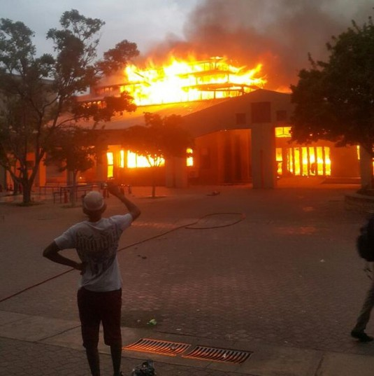 INFERNO. The science centre at the North West University's Mahikeng campus on Wednesday, February 24, 2016. Picture: Kearabetswe via Twitter.