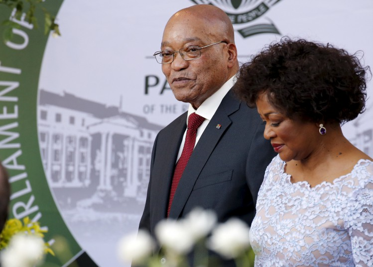 South Africa's President Jacob Zuma  with Speaker of Parliament Baleka Mbete. Picture: Mike Hutchings
