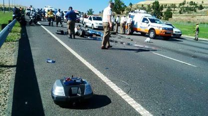Crash scene in which the JMPD trainee died.  Picture: Roodepoort Record