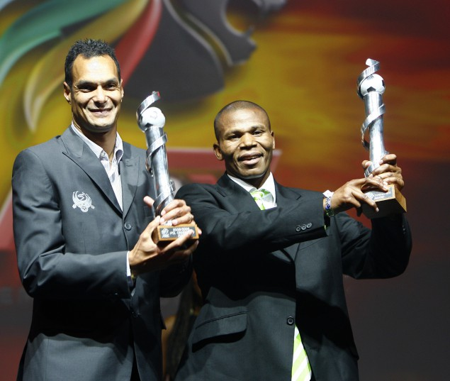 John Maduka of Bloemfontein Celtic with Andre Arense of Supersport United both winning chairmans Award.   ©Sabelo Mngoma/ Backpagepix
