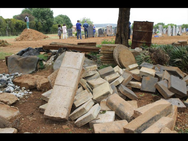 Workers removed everything from the graves except headstones. Photo: Ron sibiya