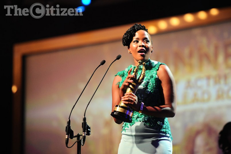 Fulu Mughovani receives the award for Best Actress in a Lead Role - Feature Film for her performance in Ayanda, at the SAFTAs, 20 March 2016, at the Gallagher Convention Centre in Midrand. Picture: Michel Bega