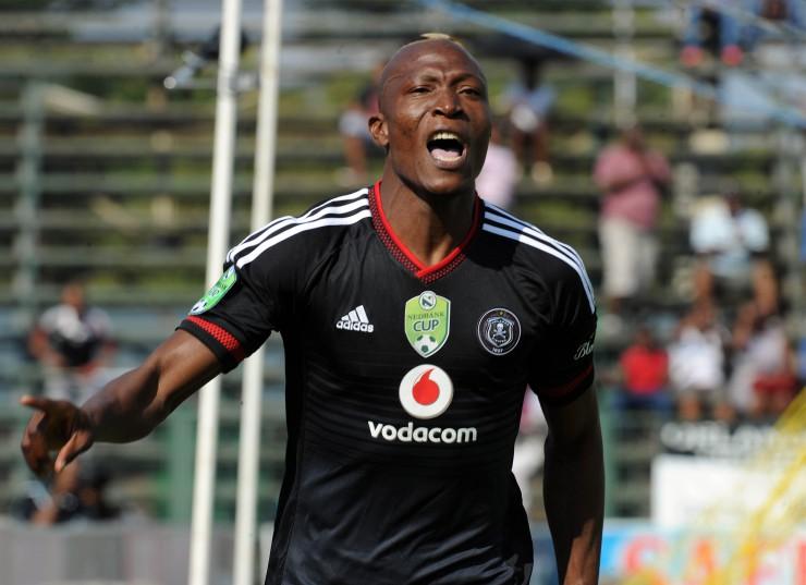 Tendai Ndoro celebrates a goal. (Sydney Mahlangu/ BackpagePix)