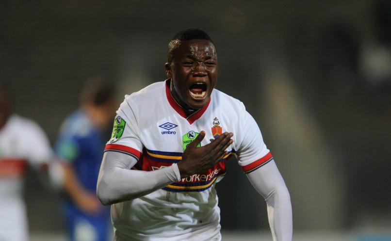 Ian Chikohwa of University of Pretoria celebrates his goal  during Nedbank Cup Last 16 match between Supersport United and University of Pretoria at Lucas Moripe Stadium. (Pic Sydney Mahlangu/ BackpagePix)