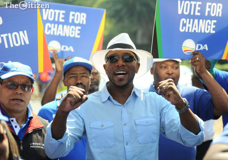 """Democratic Alliance (DA) leader Mmusi Maimane leads the """"March for Change"""" to the Constitutional Court, 15 April 2016, in Johannesburg. This follows the Constitutional Court judgment, which stated that Jacob Zuma had violated his Oath of Office and the Constitution. Picture: Michel Bega"""