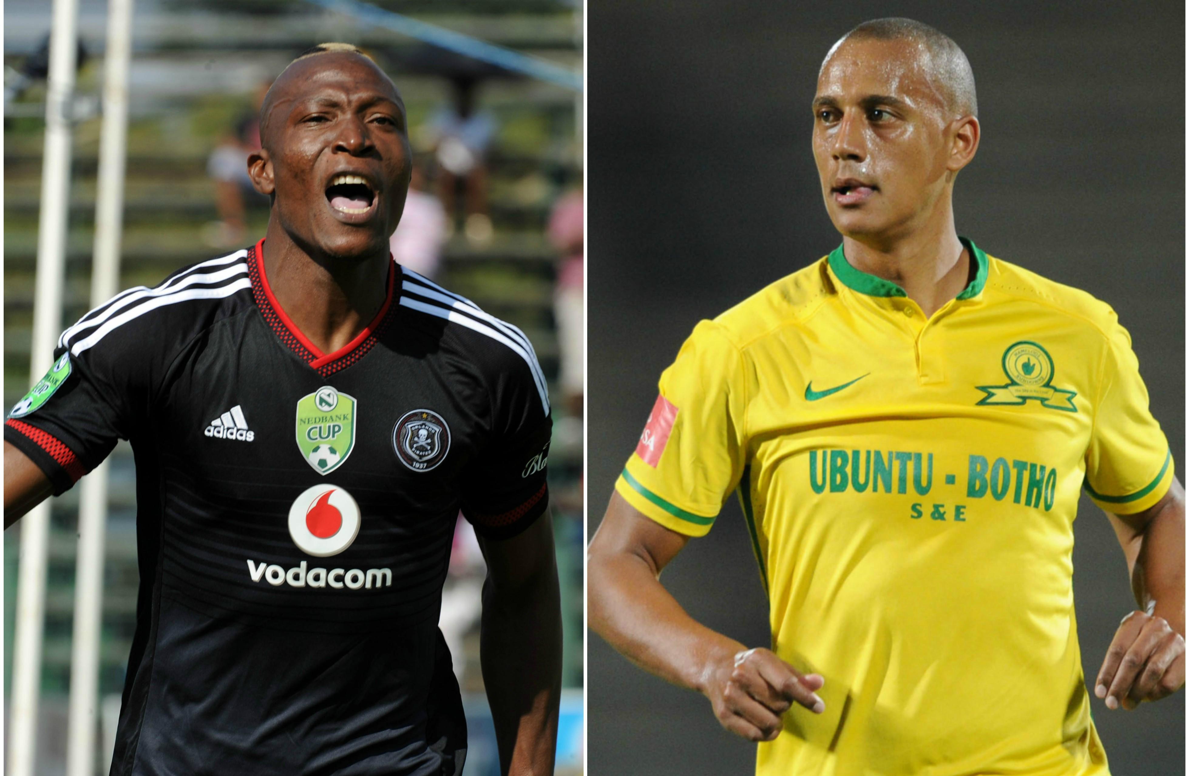 Tendai Ndoro (L) of Orlando Pirates and Wayne Arendse (R) of Mamelodi Sundowns.