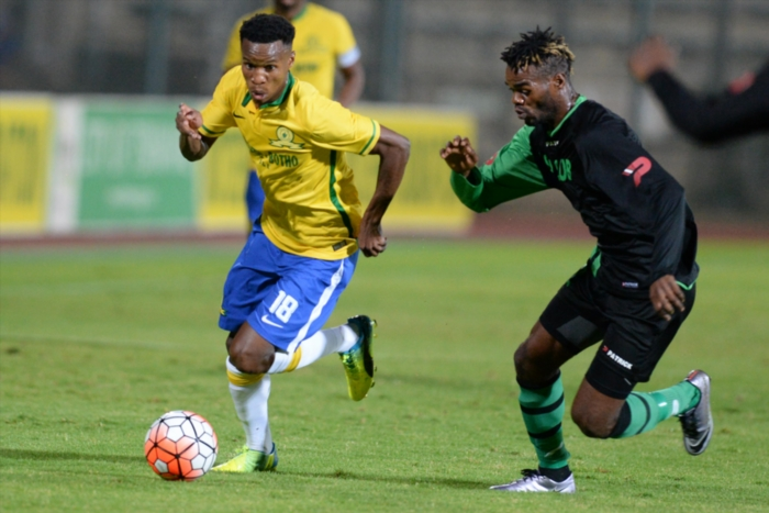 Themba Zwane of Sundowns and Wango Mbambu of Vita during the CAF Champions League match between Mamelodi Sundowns and AS Vita Club at Lucas Moripe Stadium on April 20, 2016 in Pretoria, South Africa. (Photo by Lefty Shivambu/Gallo Images)