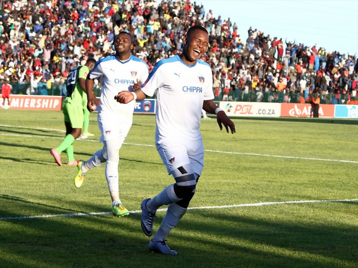 Goal scorer Lerato Manzine of Chippa United during the Absa Premiership match between Chippa United and Platinum Stars at Isaac Wolfson Stadium on April 27, 2016 in Port Elizabeth, South Africa. (Photo by Richard Huggard/Gallo Images)