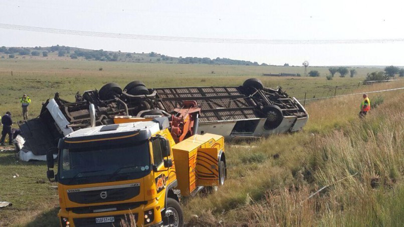 Eleven people died and 59 were injured when a bus carrying ANC members overturned on the N1 between Winburg and Ventersburg in the Free State on Sunday. Photo: Netcare 911