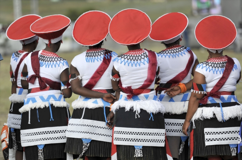 Members of Amadelakubusa Women's Traditional group during the commemoration of the Battle of Isandlwana on January 22, 2015 in Nquthu, South Africa.