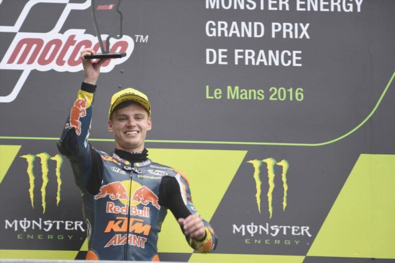 Brad Binder of South Africa and Red Bull KTM Ajo celebrates on the podium the victory at the end of the Moto3 race during the MotoGp of France - Race at on May 8, 2016 in Le Mans, France. (Photo by Mirco Lazzari gp/Getty Images)