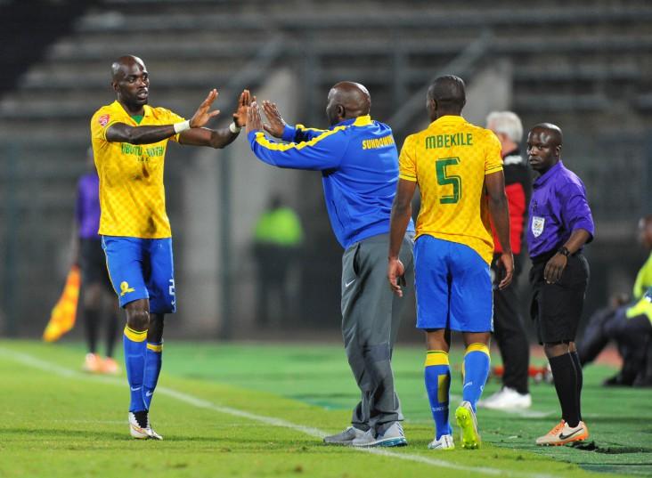 Pitso Mosimane celebrates with Anthony Laffor of Mamelodi Sundowns (Samuel Shivambu/BackpagePix)