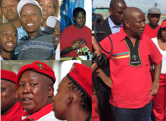 Top left: Young Malema. Bottom left: After the years of plenty. Right: Getting back to being 'a hunk'.