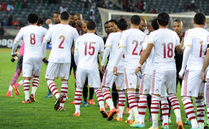 Players greeting during the CAF Champions League match between Orlando Pirates and Zamalek (Egypt). (Photo by Gallo Images)