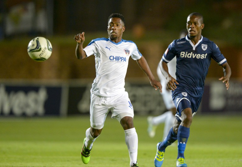 JOHANNESBURG, SOUTH AFRICA - APRIL 30: Buyani Sali of Chippa United and Phumlani Ntsangase of Wits during the Absa Premiership match between Bidvest Wits and Chippa United at Bidvest Stadium on April 30, 2016 in Johannesburg, South Africa. (Photo by Sydney Seshibedi/Gallo Images)