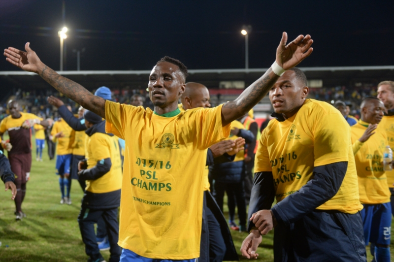 Sundowns Teko Modise and players celebrates with fans during the Absa Premiership match between University of Pretoria and Mamelodi Sundowns at Tuks Stadium on May 04, 2016 in Pretoria, South Africa. (Photo by Lefty Shivambu/Gallo Images)