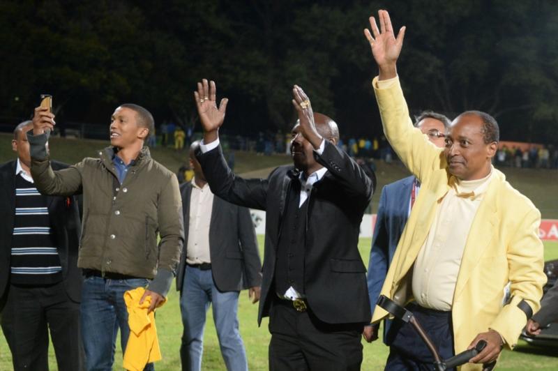 Sundowns owner Patrice Motsepe with son Tlhopane Motsepe,Alex Shakoane and memebers during the Absa Premiership match between University of Pretoria and Mamelodi Sundowns at Tuks Stadium on May 04, 2016 in Pretoria, South Africa. (Photo by Lefty Shivambu/Gallo Images)