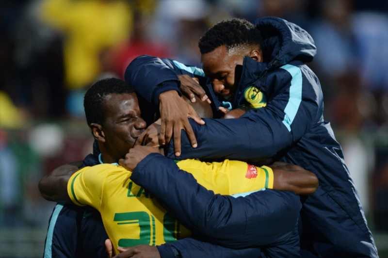 Anthony Laffor and teammates celebrates during the Absa Premiership match between University of Pretoria and Mamelodi Sundowns at Tuks Stadium on May 04, 2016 in Pretoria, South Africa. (Photo by Lefty Shivambu/Gallo Images)