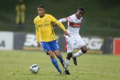 Thabo Nthethe of Sundowns and Ronald Ketjijere of Tuks during the Absa Premiership match between University of Pretoria and Mamelodi Sundowns at Tuks Stadium on May 04, 2016 in Pretoria, South Africa. (Photo by Lefty Shivambu/Gallo Images)