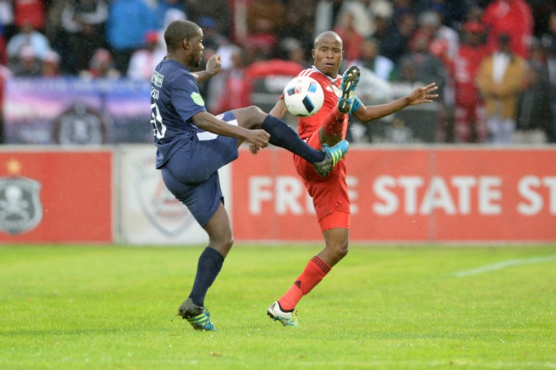 BETHLEHEM, SOUTH AFRICA - MAY 14 :     Katlego Mashego of Free State and Thabo Matlaba of Pirates during the Nedbank Cup Semi Final match between Free State Stars and Orlando Pirates at Goble Park on May 14, 2016 in Bethlehem, South Africa. (Photo by Lefty Shivambu/Gallo Images)
