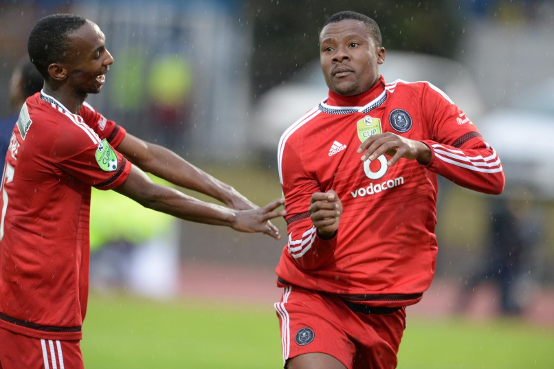 BETHLEHEM, SOUTH AFRICA - MAY 14 : Thabo Rakhale and Thamsanqa Gabuza of Pirates during the Nedbank Cup Semi Final match between Free State Stars and Orlando Pirates at Goble Park on May 14, 2016 in Bethlehem, South Africa. (Photo by Lefty Shivambu/Gallo Images)