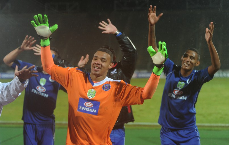 PRETORIA, SOUTH AFRICA - MAY 14: SuperSport United celebrating their victory during the Nedbank Cup, semi final match between SuperSport United and Baroka FC at Lucas Moripe Stadium on May 14, 2016 in Pretoria, South Africa. (Photo by Gallo Images)