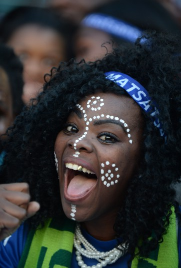 POLOKWANE, SOUTH AFRICA - MAY 28,  Fans sing and dance during the Nedbank Cup Final between SuperSport United and Orlando Pirates at the Peter Mokaba Stadium on May 28, 2016 in Polokwane, South Africa. (Photo by Lefty Shivambu/Gallo Images)