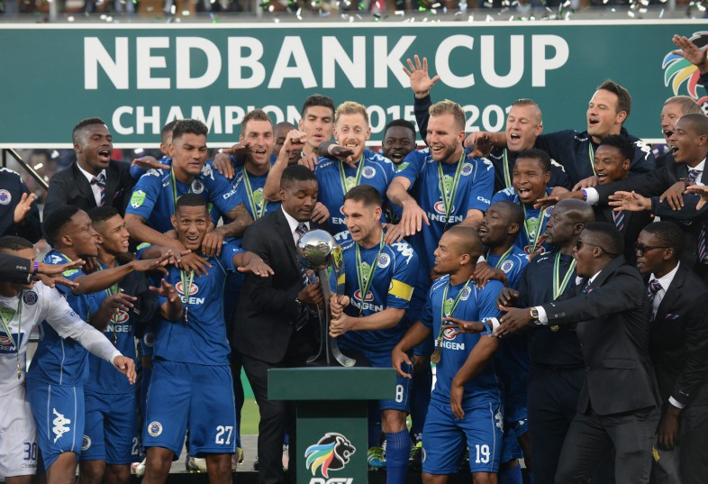 POLOKWANE, SOUTH AFRICA - MAY 28, SuperSport United Captain Dean Furman celebrates lifting the trophy with his teammates during the Nedbank Cup Final between SuperSport United and Orlando Pirates at the Peter Mokaba Stadium on May 28, 2016 in Polokwane, South Africa. (Photo by Lefty Shivambu/Gallo Images)