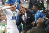 POLOKWANE, SOUTH AFRICA - MAY 28, SuperSport United goalkeeper Ronwen Williams celebrates with teammates during the Nedbank Cup Final between SuperSport United and Orlando Pirates at the Peter Mokaba Stadium on May 28, 2016 in Polokwane, South Africa. (Photo by Lefty Shivambu/Gallo Images)