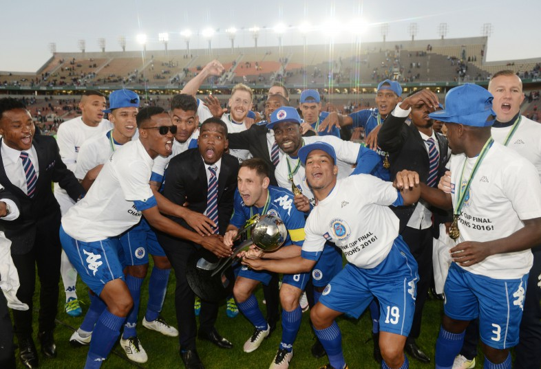 POLOKWANE, SOUTH AFRICA - MAY 28, SuperSport United players celebrates during the Nedbank Cup Final between SuperSport United and Orlando Pirates at the Peter Mokaba Stadium on May 28, 2016 in Polokwane, South Africa. (Photo by Lefty Shivambu/Gallo Images)
