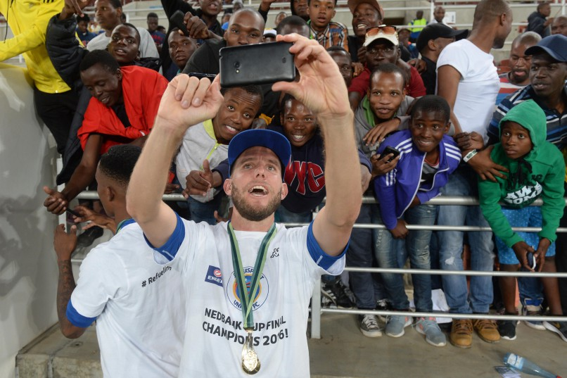 POLOKWANE, SOUTH AFRICA - MAY 28, SuperSport United Grant Kekana and Jeremy Brockie celebrates during the Nedbank Cup Final between SuperSport United and Orlando Pirates at the Peter Mokaba Stadium on May 28, 2016 in Polokwane, South Africa. (Photo by Lefty Shivambu/Gallo Images)