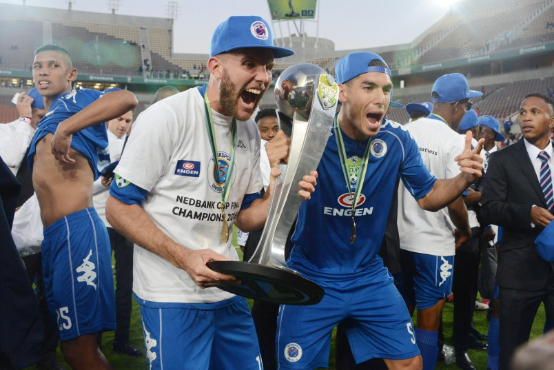 POLOKWANE, SOUTH AFRICA - MAY 28, SuperSport players Jermey Brockie and Micael Boxall celebrates during the Nedbank Cup Final between SuperSport United and Orlando Pirates at the Peter Mokaba Stadium on May 28, 2016 in Polokwane, South Africa. (Photo by Frennie Shivambu/Gallo Images)