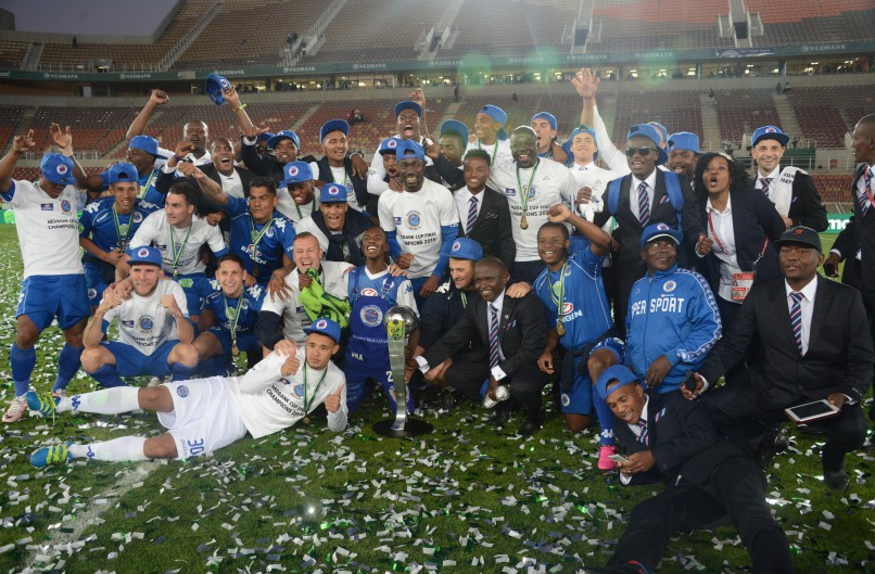 POLOKWANE, SOUTH AFRICA - MAY 28, SuperSport players celebrates with fans during the Nedbank Cup Final between SuperSport United and Orlando Pirates at the Peter Mokaba Stadium on May 28, 2016 in Polokwane, South Africa. (Photo by Frennie Shivambu/Gallo Images)