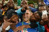 POLOKWANE, SOUTH AFRICA - MAY 28, SuperSport Captain Dean Furman celebrates with fans during the Nedbank Cup Final between SuperSport United and Orlando Pirates at the Peter Mokaba Stadium on May 28, 2016 in Polokwane, South Africa. (Photo by Frennie Shivambu/Gallo Images)