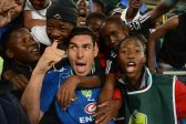 POLOKWANE, SOUTH AFRICA - MAY 28, Michael Boxall celebrates with fans during the Nedbank Cup Final between SuperSport United and Orlando Pirates at the Peter Mokaba Stadium on May 28, 2016 in Polokwane, South Africa. (Photo by Frennie Shivambu/Gallo Images)