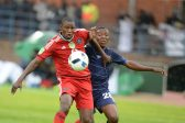 BETHLEHEM, SOUTH AFRICA - MAY 14 : Ayanda Gcaba of Pirates and Selelo Jaftha of Free State during the Nedbank Cup Semi Final match between Free State Stars and Orlando Pirates at Goble Park on May 14, 2016 in Bethlehem, South Africa. (Photo by Lefty Shivambu/Gallo Images)