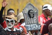 BETHLEHEM, SOUTH AFRICA - MAY 14 : Pirates Fans during the Nedbank Cup Semi Final match between Free State Stars and Orlando Pirates at Goble Park on May 14, 2016 in Bethlehem, South Africa. (Photo by Lefty Shivambu/Gallo Images)
