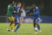 PRETORIA, SOUTH AFRICA - MAY 14:  Micheal Morton and Thuso Phala of SuperSport in action with Ayanda Jwara of Baroka FC during the Nedbank Cup, semi final match between SuperSport United and Baroka FC at Lucas Moripe Stadium on May 14, 2016 in Pretoria, South Africa. (Photo by Gallo Images)