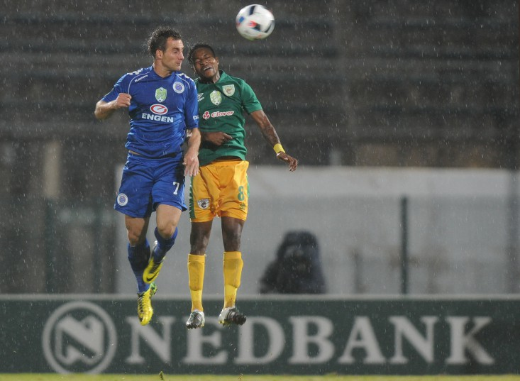 PRETORIA, SOUTH AFRICA - MAY 14:  Bradley Grobler of SuperSport in action with Ayanda Jwara of Baroka FC during the Nedbank Cup, semi final match between SuperSport United and Baroka FC at Lucas Moripe Stadium on May 14, 2016 in Pretoria, South Africa. (Photo by Gallo Images)