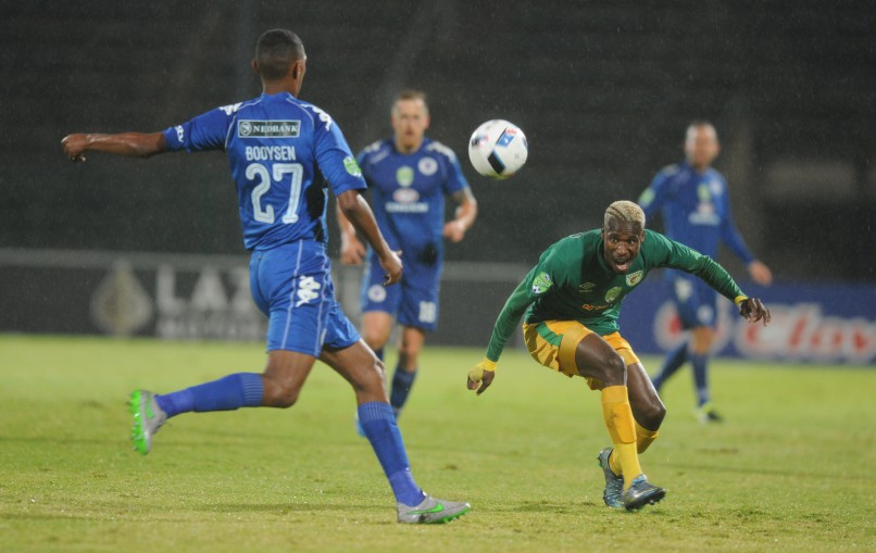 PRETORIA, SOUTH AFRICA - MAY 14:  Mario Booysen of SuperSport in action with Lucky Mothwa of Baroka FC during the Nedbank Cup, semi final match between SuperSport United and Baroka FC at Lucas Moripe Stadium on May 14, 2016 in Pretoria, South Africa. (Photo by Gallo Images)