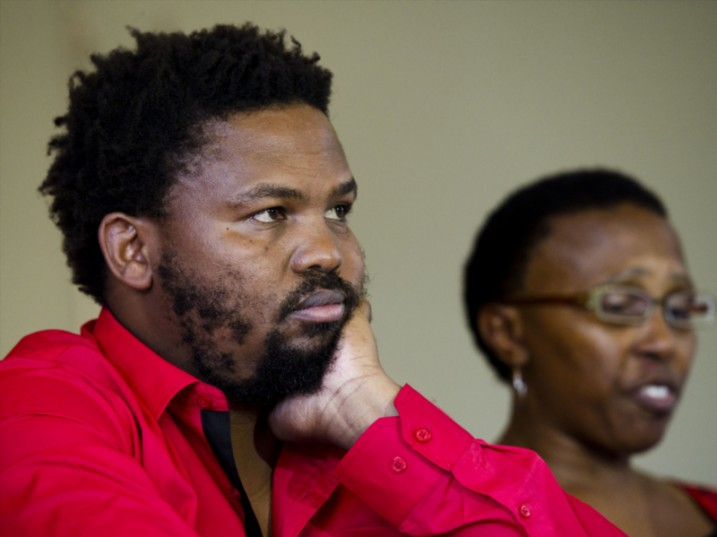 Andile Mngxitama and Khanyisile Litchfield-Tshabalala during a media briefing on February 17, 2015 in Johannesburg, South Africa. (File photo by Gallo Images / Foto24 / Theana Breugem)